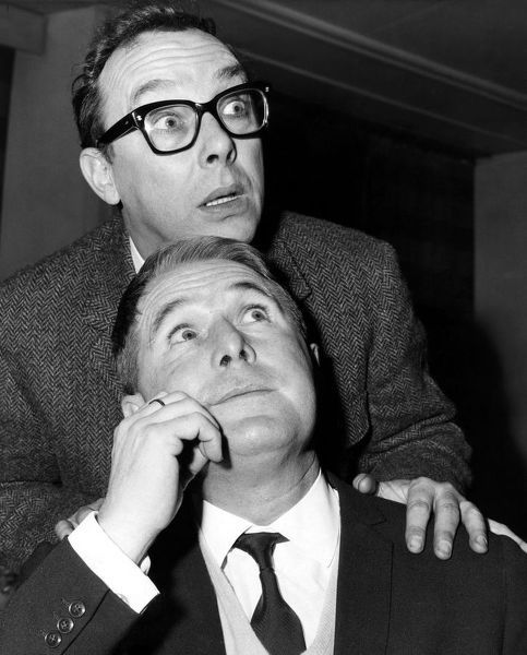 Eric Morecambe and Ernie Wise rehearse for a new television�series, 1966