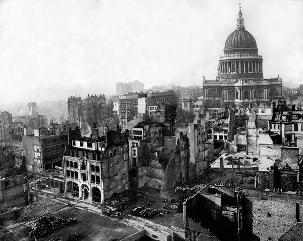 St. Pauls Cathedral remains intact after enemy air raid during World War II 1941 Taken from the steeple of St Mary Le Bow