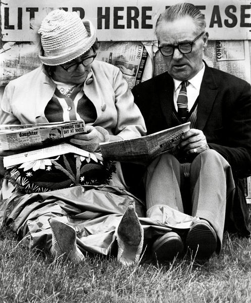 Ascot racegoers reading the racing form, 1966