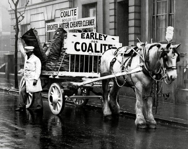 White coal cart in London